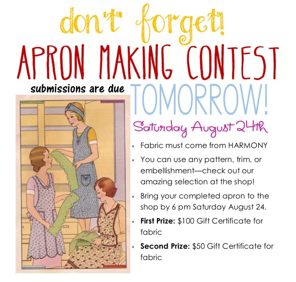 apron contest reminder