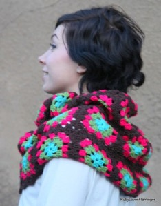 ruby loves flamingoes granny square cowl