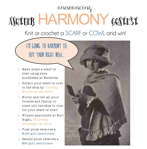 Harmonyprovo scarf cowl contest announcement