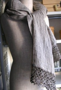 linen scarf with crochet lace trim