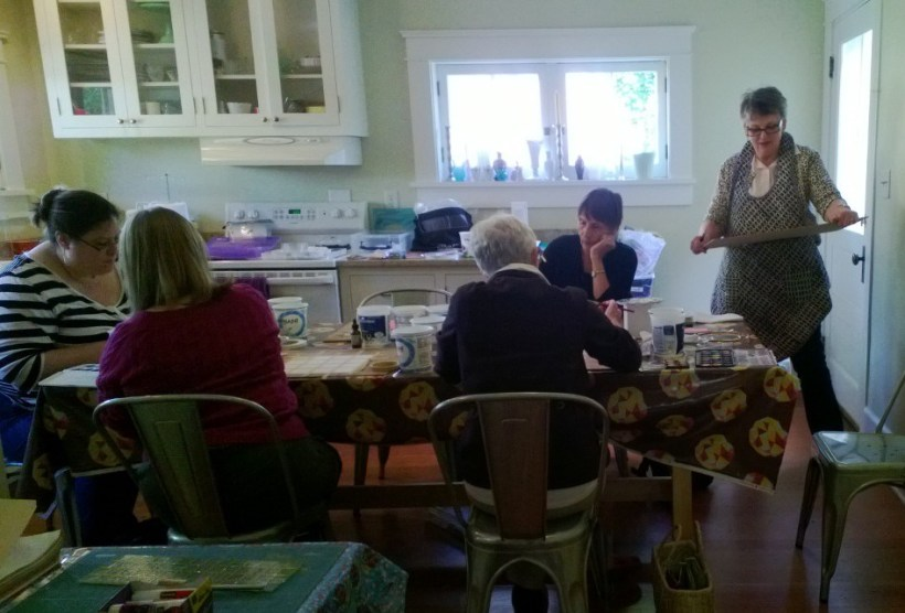 Nancy teaching a Water Color Painting class at Harmony