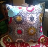 sunburst granny square pillow closeup