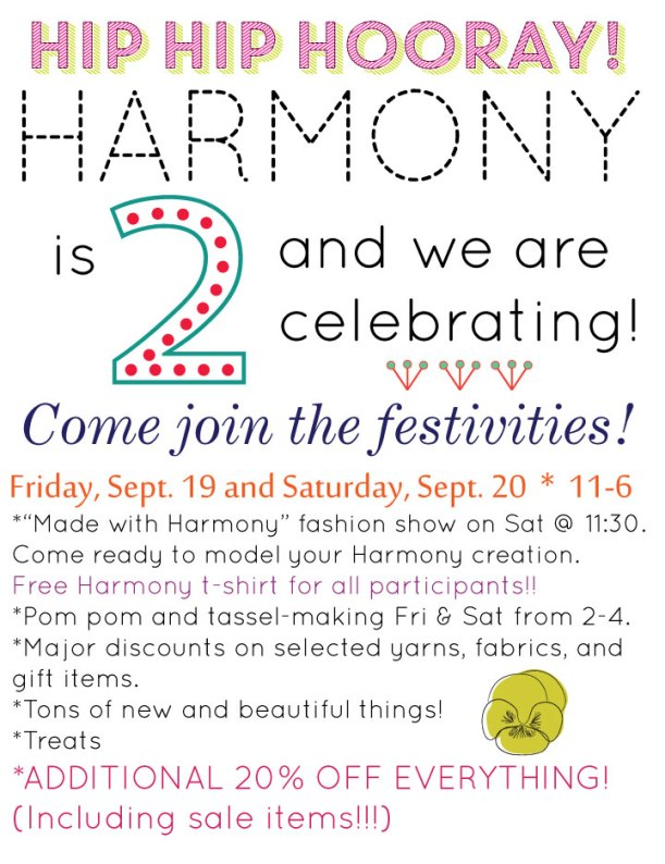 harmony 2 year anniversary party sale