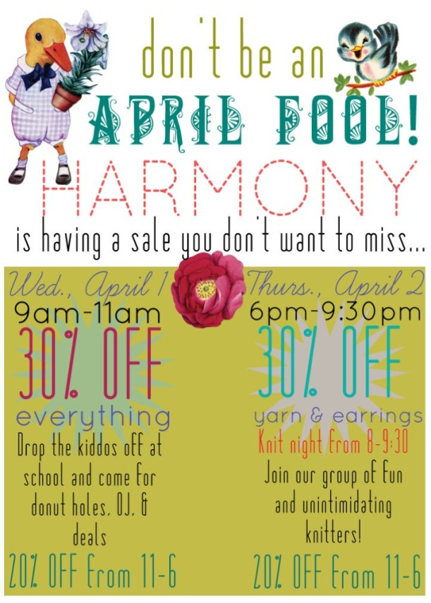 harmony provo - april fools sale 2015