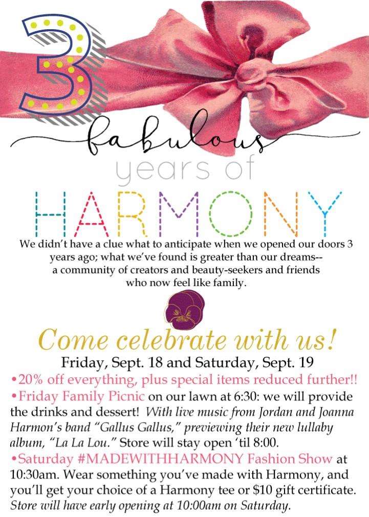 harmony 3 year anniversary party sale