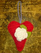 crochet lavendar heart with rose sachet
